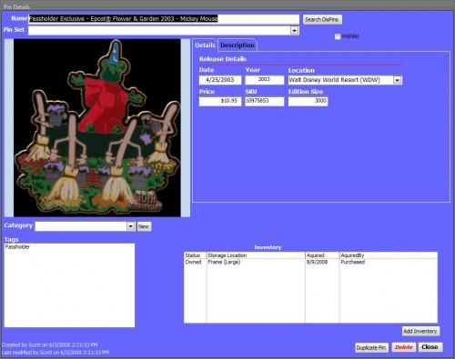 Disney Pin Trading Database - Pin Details