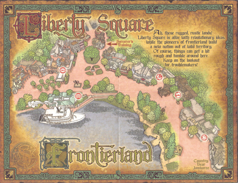 Disneys sorcerers of the magic kingdom cards map and ios sorcerers of the magic kingdom map liberty square and frontierland gumiabroncs Choice Image